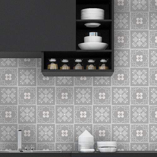 Walplus Ginnie Floral Victorian Tile Sticker - Grey/Light Grey/White - 15x15 cm - 24 pieces