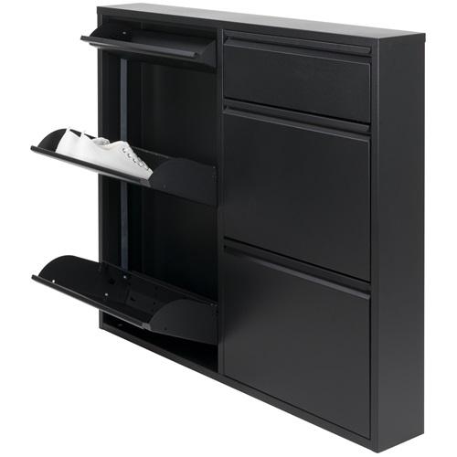 Spinder Design Billy 6 Schuhschrank mit 6 Fächern 98x15x86 - Schwarz
