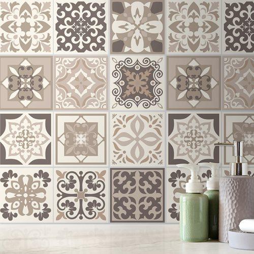 Walplus Noor Mediterranean Tile Sticker - Dark Grey/Grey/White - 15x15 cm - 24 pieces
