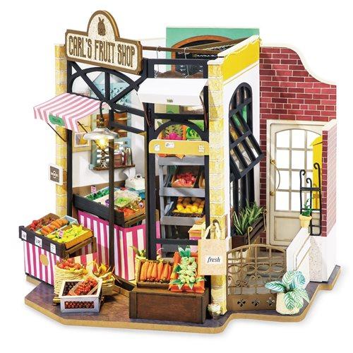 Robotime Carl's Fruit Shop DG142 - Wooden Model Kit - Dollhouse with LED Light - DIY