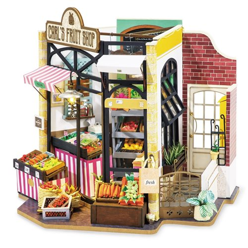 Robotime Carl's Fruit Shop DG142 - Wooden Model Kit - Dollhouse with LED Light - DIY