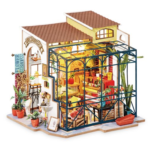 Robotime Emily's Flower Shop DG145 - Wooden Model Kit - Dollhouse with LED Light - DIY