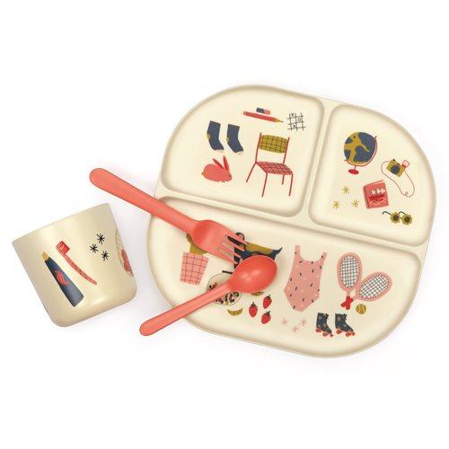 Ekobo Bambino 4-Piece Kids Dining Set Bamboo Fiber - Coral Pink