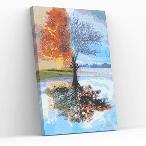 Best Pause Baum in vier Jahreszeiten - Malen nach Zahlen - 40x50 cm - DIY Kit