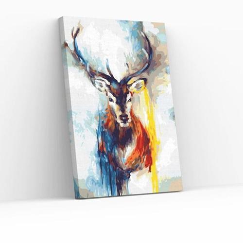 Best Pause Hert multikleur - Schilderen op nummer - 40x50 cm - DIY Hobby Pakket