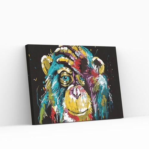 Best Pause Affe Mehrfarbig - Malen nach Zahlen - 40x50 cm - DIY Kit