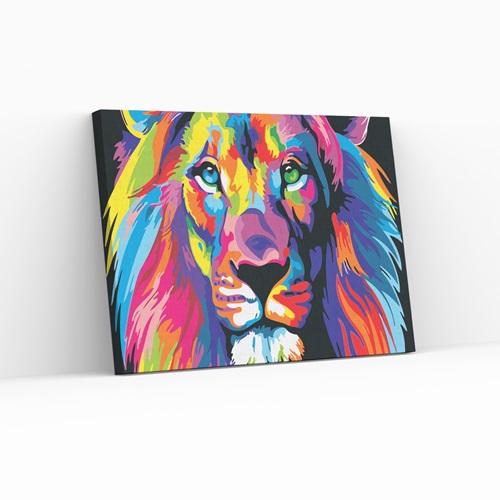 Best Pause Leeuw multikleur - Schilderen op nummer - 40x50 cm - DIY Hobby Pakket