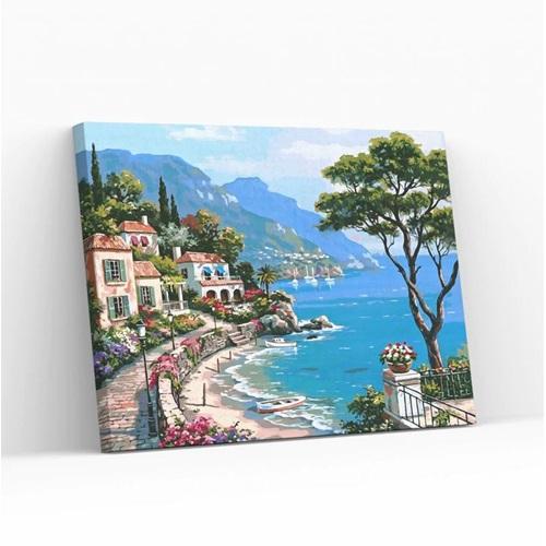 Best Pause Mediterraans Dorp - Schilderen op nummer - 40x50 cm - DIY Hobby Pakket