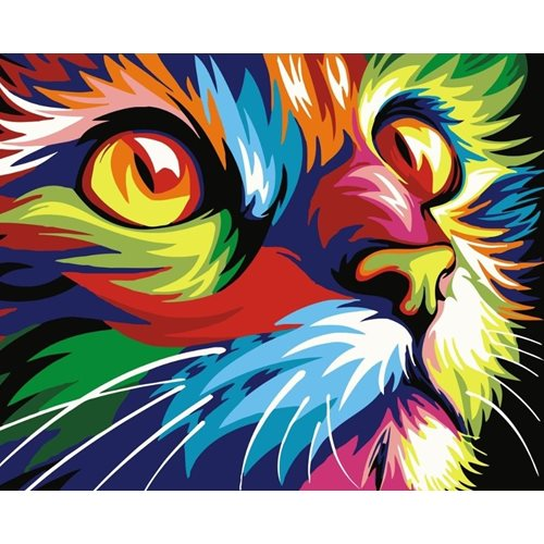 Best Pause Kat multikleur - Schilderen op nummer - 40x50 cm - DIY Hobby Pakket