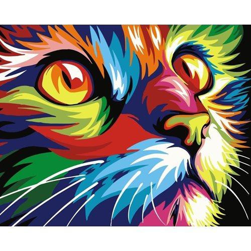 Best Pause Katze Mehrfarbig - Malen nach Zahlen - 40x50 cm - DIY Kit