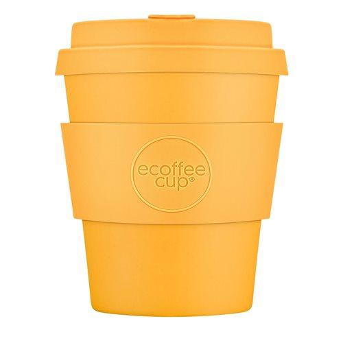 Ecoffee Cup Bananafarma - Bamboo Cup - 250 ml - with Pastel Orange Silicone