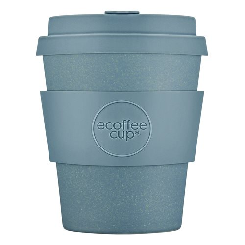 Ecoffee Cup Gray Goo - Bamboo Cup - 250 ml - with Pastel Blue Silicone