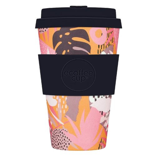 Ecoffee Cup Tsunami at the Halekulani - Bamboe Beker - 400 ml - met Zwart Siliconen
