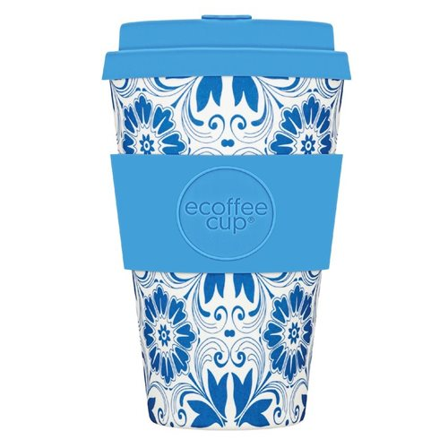 Ecoffee Cup Delft Touch - Bamboo Cup - 400 ml - with Blue Silicone