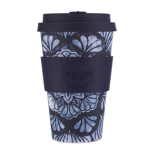 Ecoffee Cup Whence the Fekawi? - Bamboe Beker - 400 ml - met Zwart Siliconen
