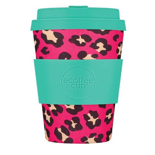 Ecoffee Cup Verity Pink-Mist - Bamboo Cup - 350 ml - with Turqoise Silicone