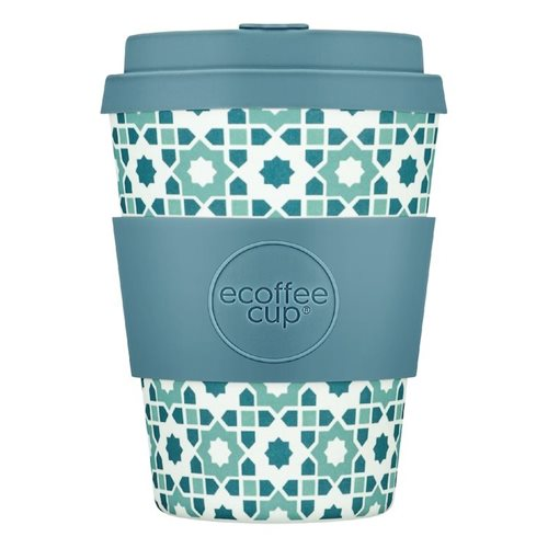 Ecoffee Cup Porto Koufo - Bamboo Cup - 350 ml - with Light Blue Silicone