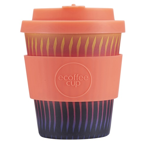 Ecoffee Cup Buck Fiddy - Bamboo Cup - 250 ml - with Orange Silicone