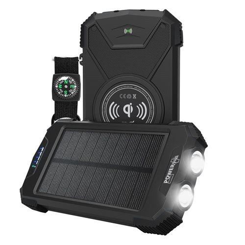 PowerPlus Beluga - 10.000 mAh Solar USB Power Bank mit QI-Ladegerät - mit Kompass und eingebauter 2 LED Taschenlampe