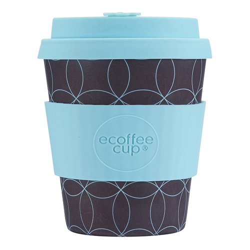 Ecoffee Cup Strangelet - Bamboo Cup - 250 ml - with Turqoise Silicone