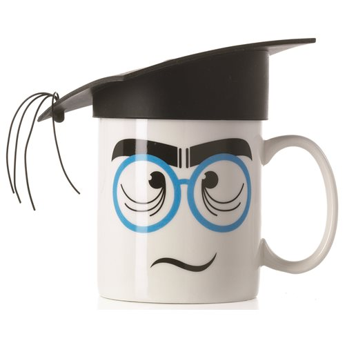 E-my - Mug with Silicone Hat - Nerd with Black Mortarboard