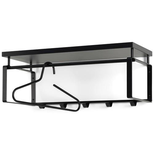 Spinder Design Rex 3 Wall Coat Rack with 5 hooks and hat shelf 70x29x28 - Black