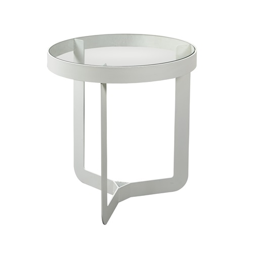 Spinder Design Douglas 1 Beistelltisch ø 46x50 - Weiß/Transparentes Glas