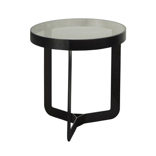 Spinder Design Douglas 1 Bijzettafel ø 46x50 - Blacksmith/Transparant Glas