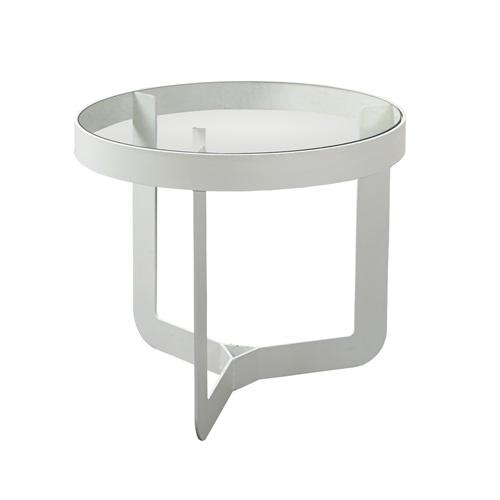 Spinder Design Douglas 2 Beistelltisch ø 41x40 - Weiß/Transparentes Glas