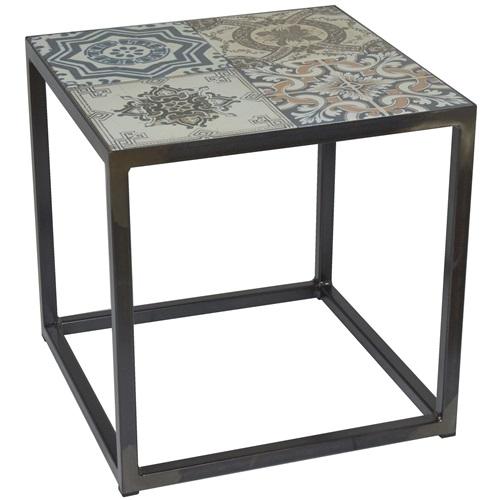 Spinder Design Ibiza Side Table 40x40x40 - Blacksmith/Tiles