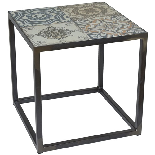 Spinder Design Ibiza Bijzettafel 40x40x40 - Blacksmith/Tegels