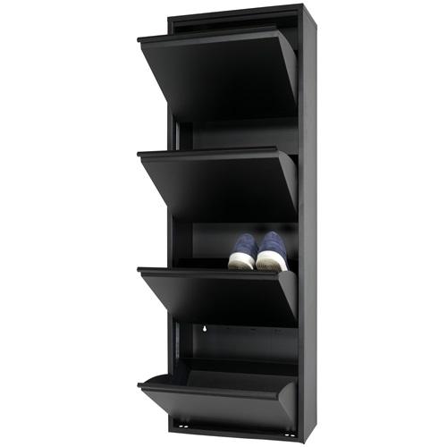 Spinder Design Billy 4 Schoenenkast met 4 vakken 50x22,5x150 - Zwart