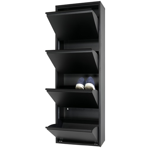 Spinder Design Billy 4 Schuhschrank mit 4 Fächern 50x22.5x150 - Schwarz