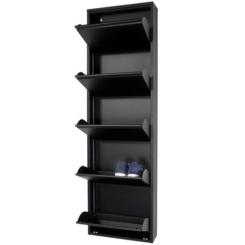Spinder Design Billy 5 Schuhschrank mit 5 Fächern 50x15x169 - Schwarz
