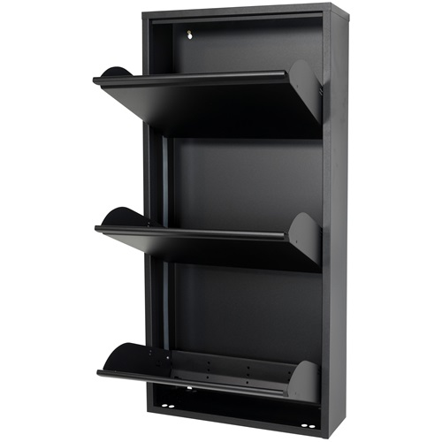 Spinder Design Billy 3 Shoe cabinet with 3 compartments 50x15.5x103 - Black