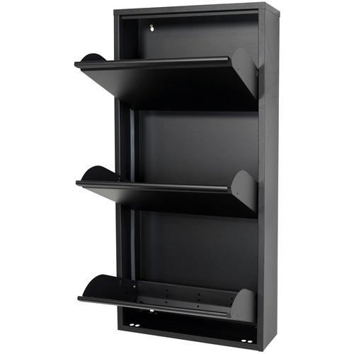 Spinder Design Billy 3 Schoenenkast met 3 vakken 50x15,5x103 - Zwart