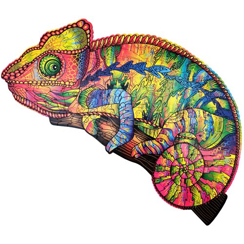 Wood Trick Сolourful Chameleon - Shaped Jigsaw Puzzle Wood