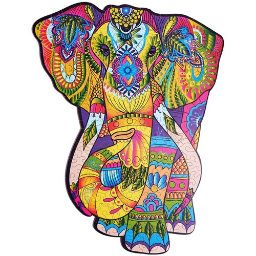 Wood Trick Splendid Elephant - Shaped Jigsaw Puzzle Wood