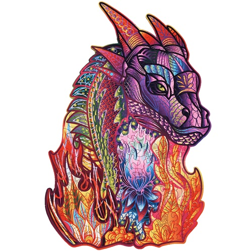 Wood Trick Wizard Dragon - Shaped Jigsaw Puzzle Wood
