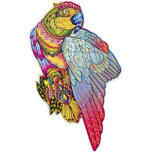 Wood Trick Bright Parrot - Shaped Jigsaw Puzzle Wood - 35.4x19.8 cm - 153 pieces