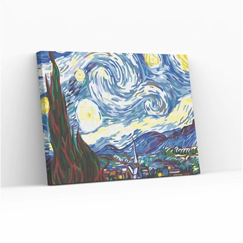 Best Pause The Starry Night by Vincent van Gogh - Paint by number - 40x50 cm - DIY Hobby Kit