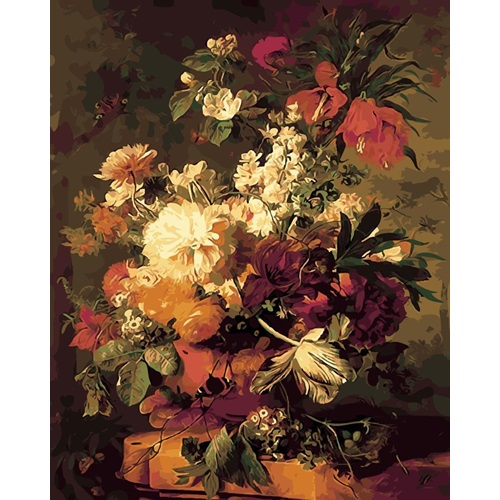 Best Pause Vaas met bloemen van Jan van Huijsum - 40x50 cm - DIY Hobby Pakket