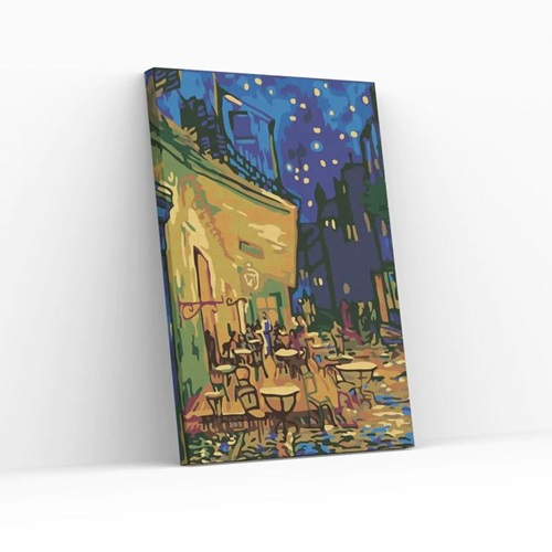 Best Pause Cafe Terrace at Night by Vincent van Gogh - Paint by number - 40x50 cm - DIY Hobby Kit