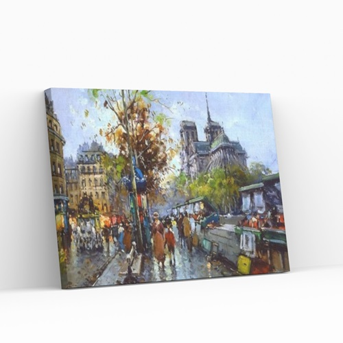 Best Pause Notre Dame by Antoine Blanchard - Paint by number - 40x50 cm - DIY Hobby Kit