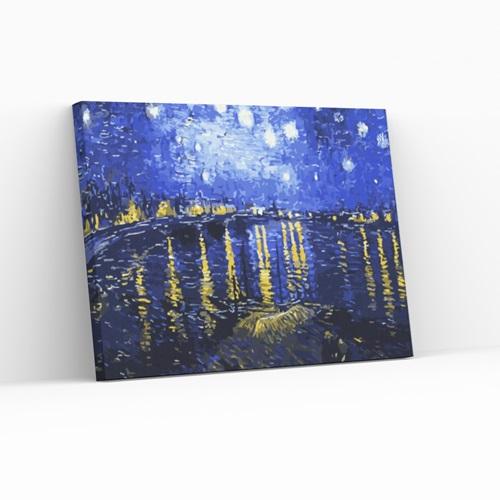Best Pause Sternennacht über der Rhône von Vincent van Gogh - Malen nach Zahlen - 40x50 cm - DIY Kit