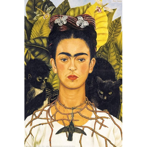 Best Pause Self-Portrait with Thorn Necklace and Hummingbird by Frida Kahlo - Paint by number - 40x50 cm - DIY Hobby Kit