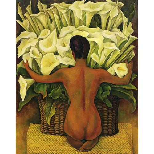 Best Pause Nackt mit Calla Lilies von Diego Rivera - Malen nach Zahlen - 40x50 cm - DIY Kit