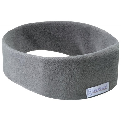 SleepPhones® Effortless Fleece Soft Gray - Bluetooth Headphones with Wireless QI Charging - Small