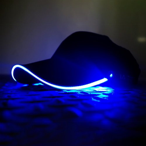 IA LED Light Up Baseball Cap - Zwart met Blauw Licht