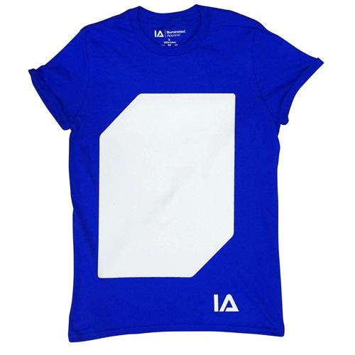 IA Interaktives Glow T-Shirt - Super Grün Glühen - Königsblau (XL)